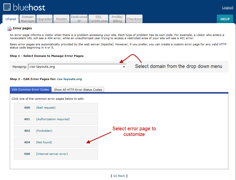 Custom Error Pages - Customizing BlueHost Error Pages