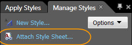 Screenshot Manage Styles Task Panel.