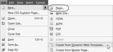 Screenshot File > New > Page OR DWT.