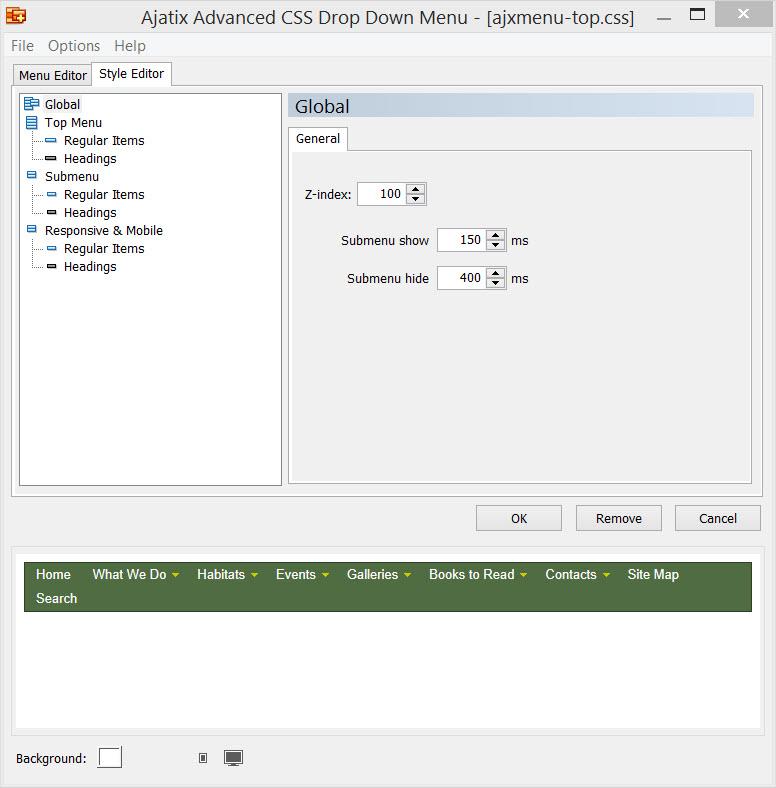 Ajatix Expression Web CSS Menu Add-ins