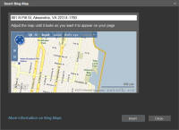 Screenshot Insert Bing Map dialog box.