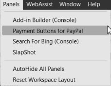 Screenshot Panels > Add-in menu item.