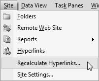 Screenshot recalculate hyperlinks menu.