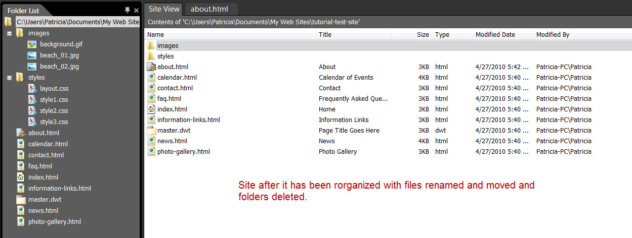 Screenshot Of Reorganized Site