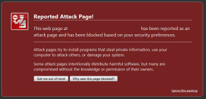 Google reported attack site warning.